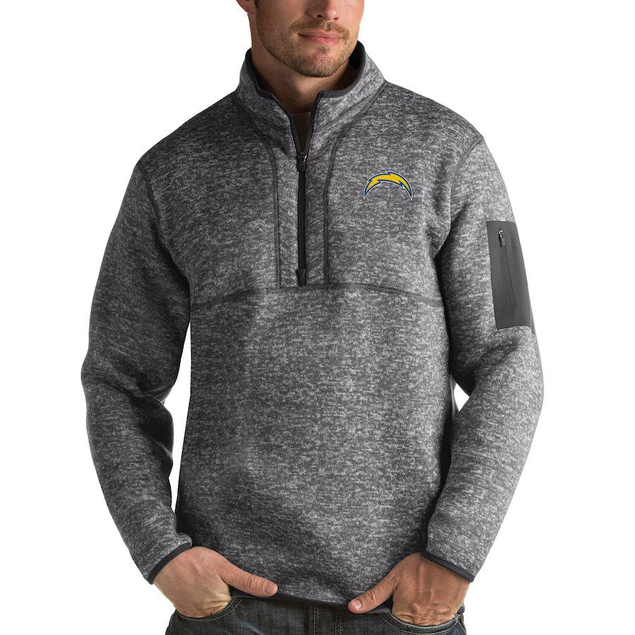 Los Angeles Chargers Antigua Fortune Quarter-Zip Pullover Jacket Charcoal