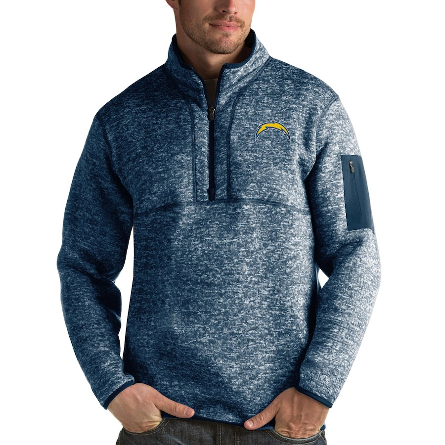 Los Angeles Chargers Antigua Fortune Quarter-Zip Pullover Jacket Heather Navy