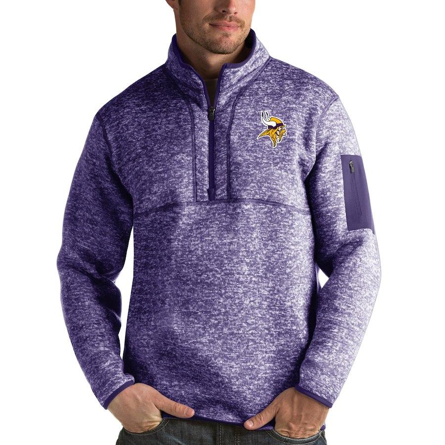 Minnesota Vikings Antigua Fortune Quarter-Zip Pullover Jacket Heather Purple