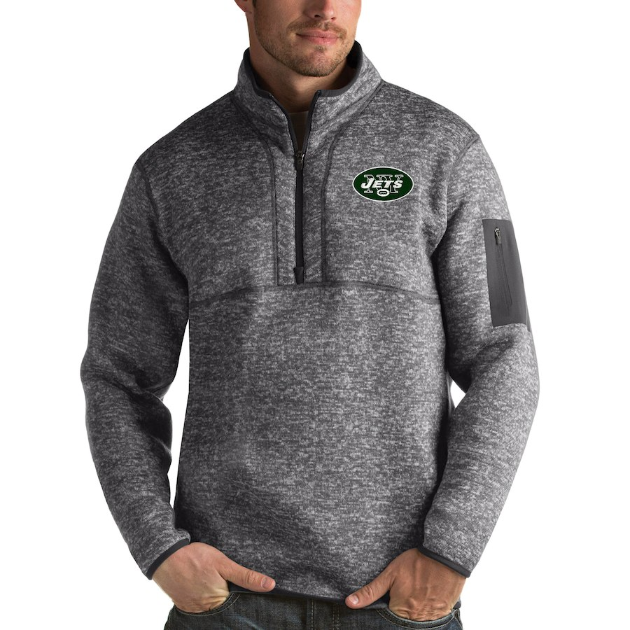 New York Jets Antigua Fortune Quarter-Zip Pullover Jacket Charcoal