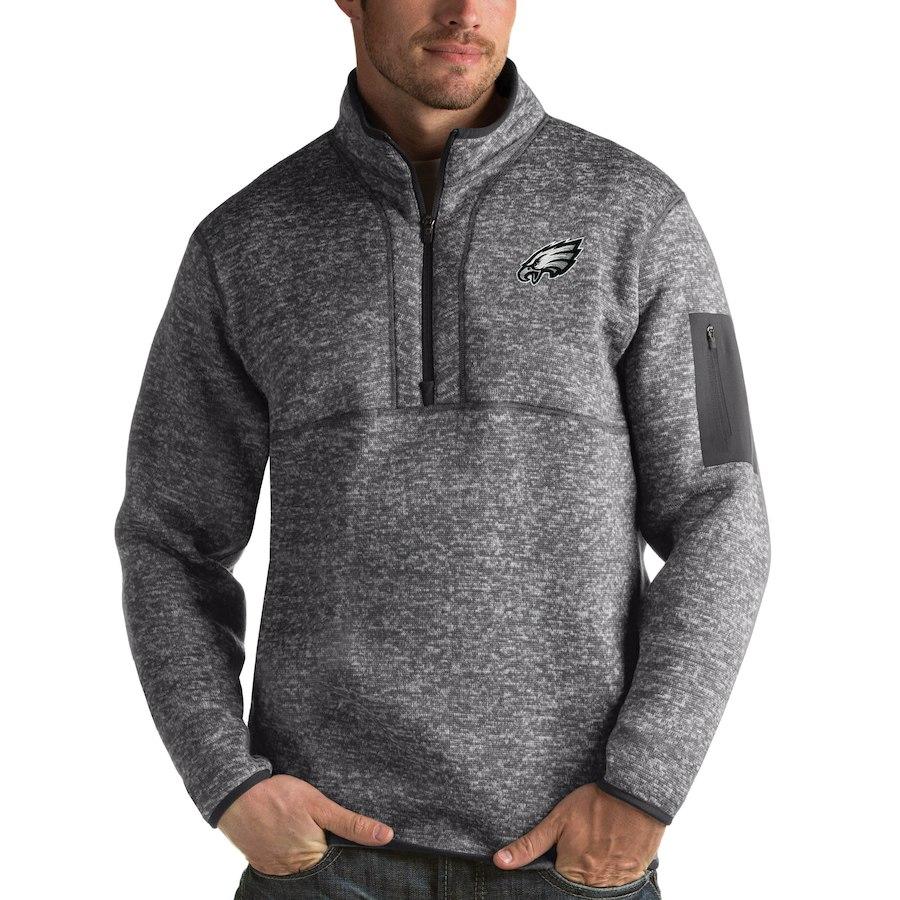 Philadelphia Eagles Antigua Fortune Quarter-Zip Pullover Jacket Charcoal