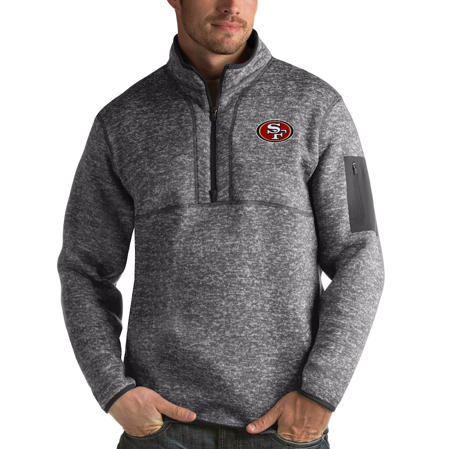 San Francisco 49ers Antigua Fortune Quarter-Zip Pullover Jacket Charcoal