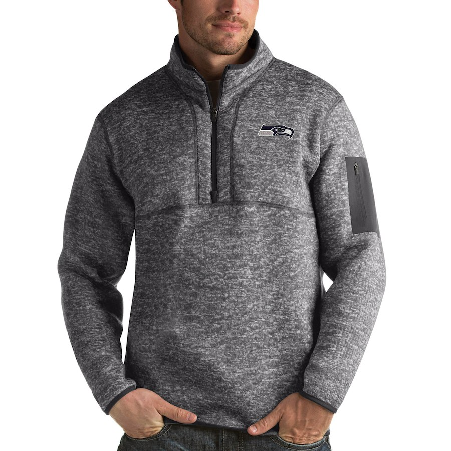 Seattle Seahawks Antigua Fortune Quarter-Zip Pullover Jacket Charcoal