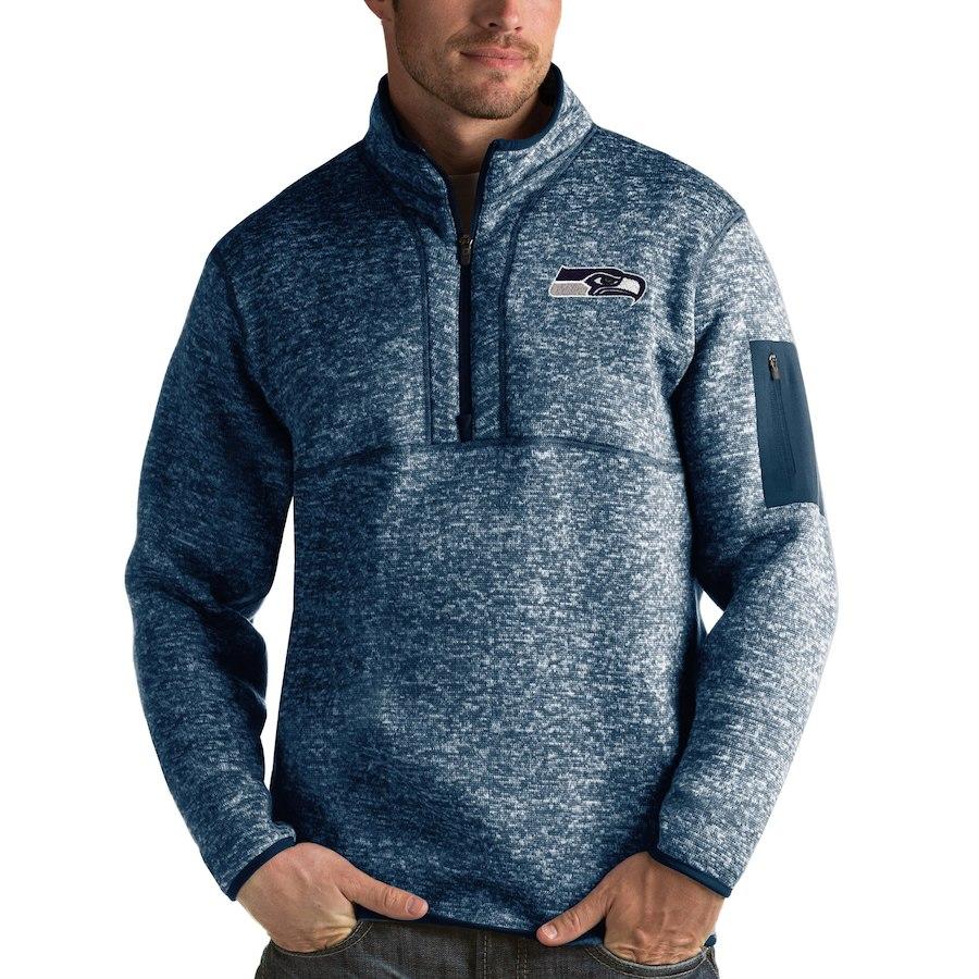 Seattle Seahawks Antigua Fortune Quarter-Zip Pullover Jacket Navy