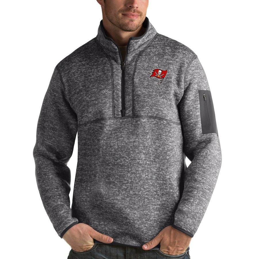 Tampa Bay Buccaneers Antigua Fortune Quarter-Zip Pullover Jacket Charcoal
