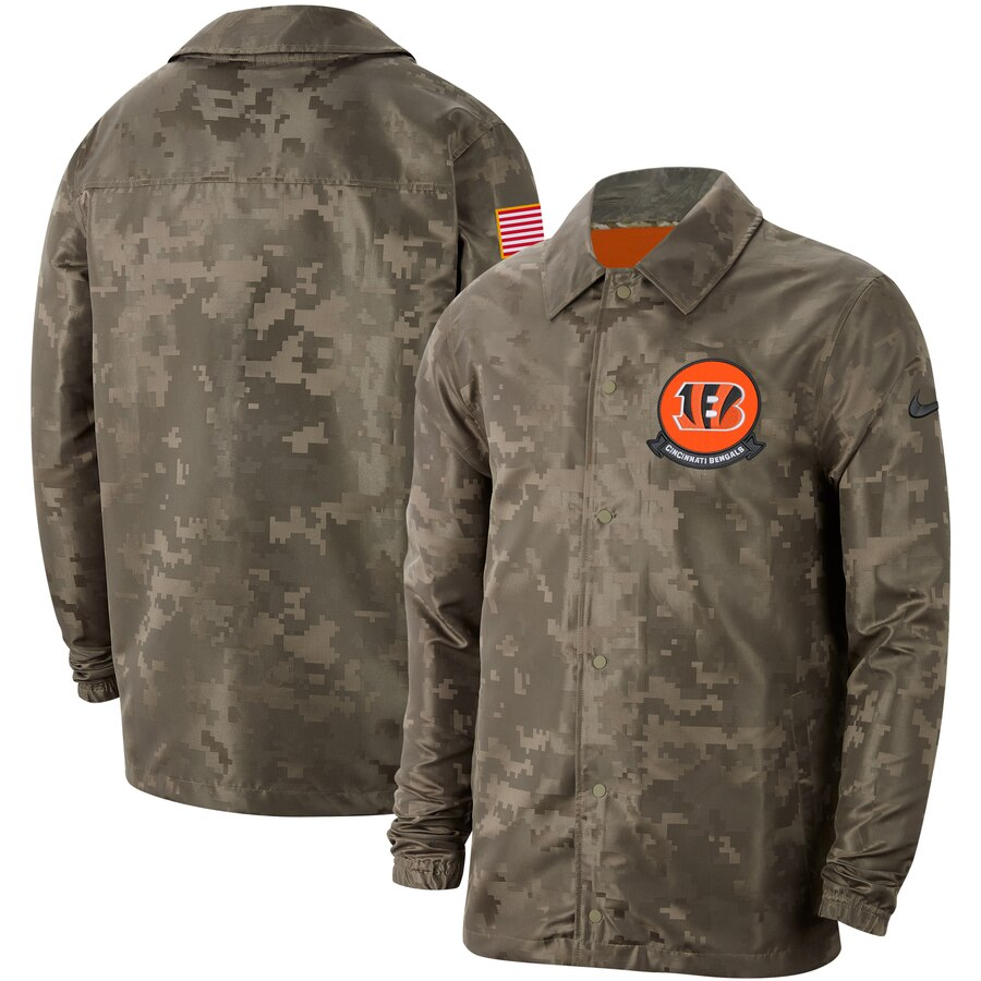 Men's Cincinnati Bengals Nike Camo 2019 Salute to Service Sideline Full-Zip Lightweight Jacket