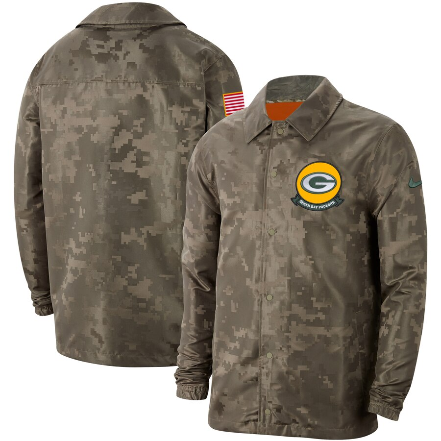 Men's Green Bay Packers Nike Camo 2019 Salute to Service Sideline Full-Zip Lightweight Jacket