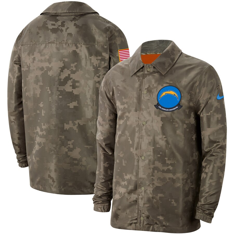 Men's Los Angeles Chargers Nike Camo 2019 Salute to Service Sideline Full-Zip Lightweight Jacket