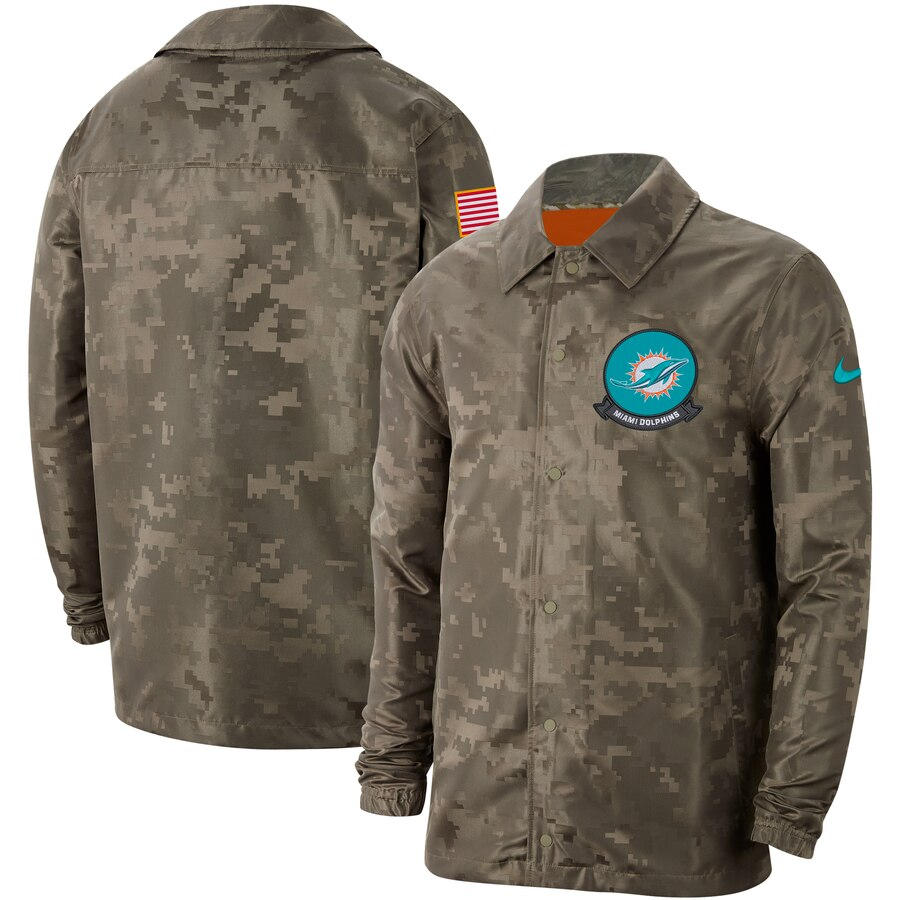 Men's Miami Dolphins Nike Camo 2019 Salute to Service Sideline Full-Zip Lightweight Jacket