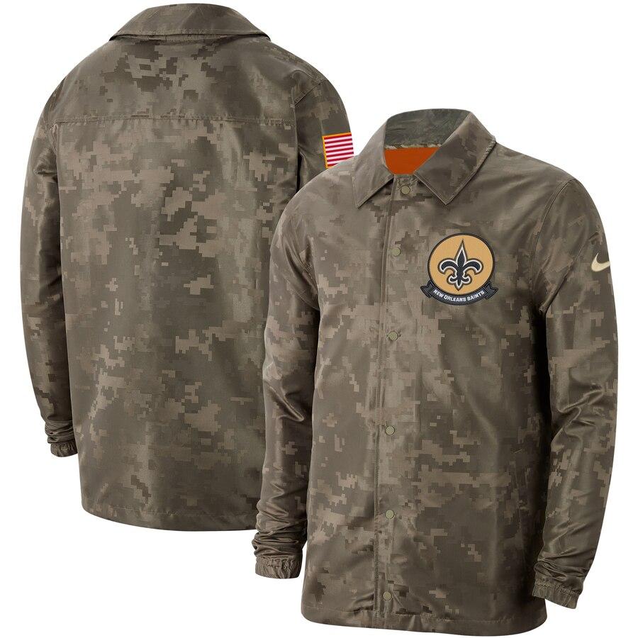 Men's New Orleans Saints Nike Camo 2019 Salute to Service Sideline Full-Zip Lightweight Jacket