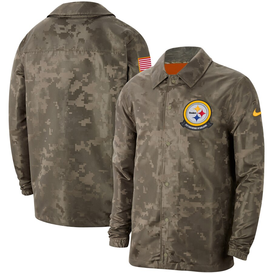 Men's Pittsburgh Steelers Nike Camo 2019 Salute to Service Sideline Full-Zip Lightweight Jacket