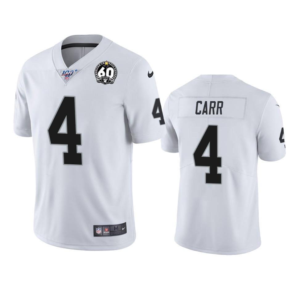Nike Raiders #4 Derek Carr White 60th Anniversary Vapor Limited Stitched NFL 100th Season Jersey