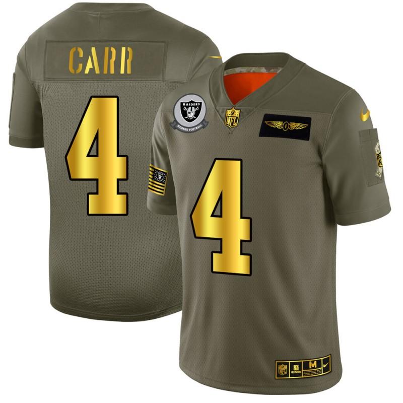 Oakland Raiders #4 Derek Carr NFL Men's Nike Olive Gold 2019 Salute to Service Limited Jersey