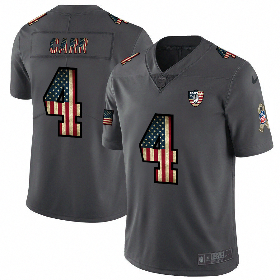 Oakland Raiders #4 Derek Carr Nike 2018 Salute to Service Retro USA Flag Limited NFL Jersey