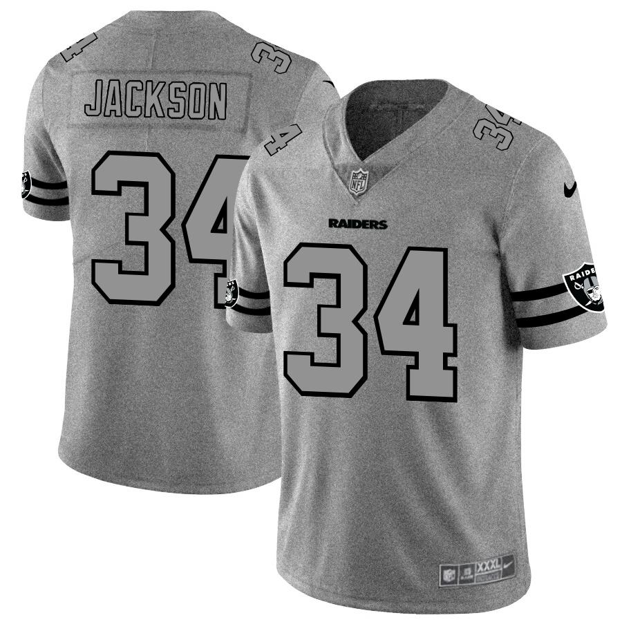 Oakland Raiders #34 Bo Jackson Men's Nike Gray Gridiron II Vapor Untouchable Limited NFL Jersey