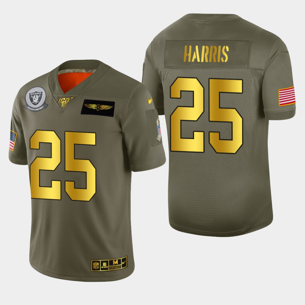 Oakland Raiders #25 Erik Harris Men's Nike Olive Gold 2019 Salute to Service Limited NFL 100 Jersey
