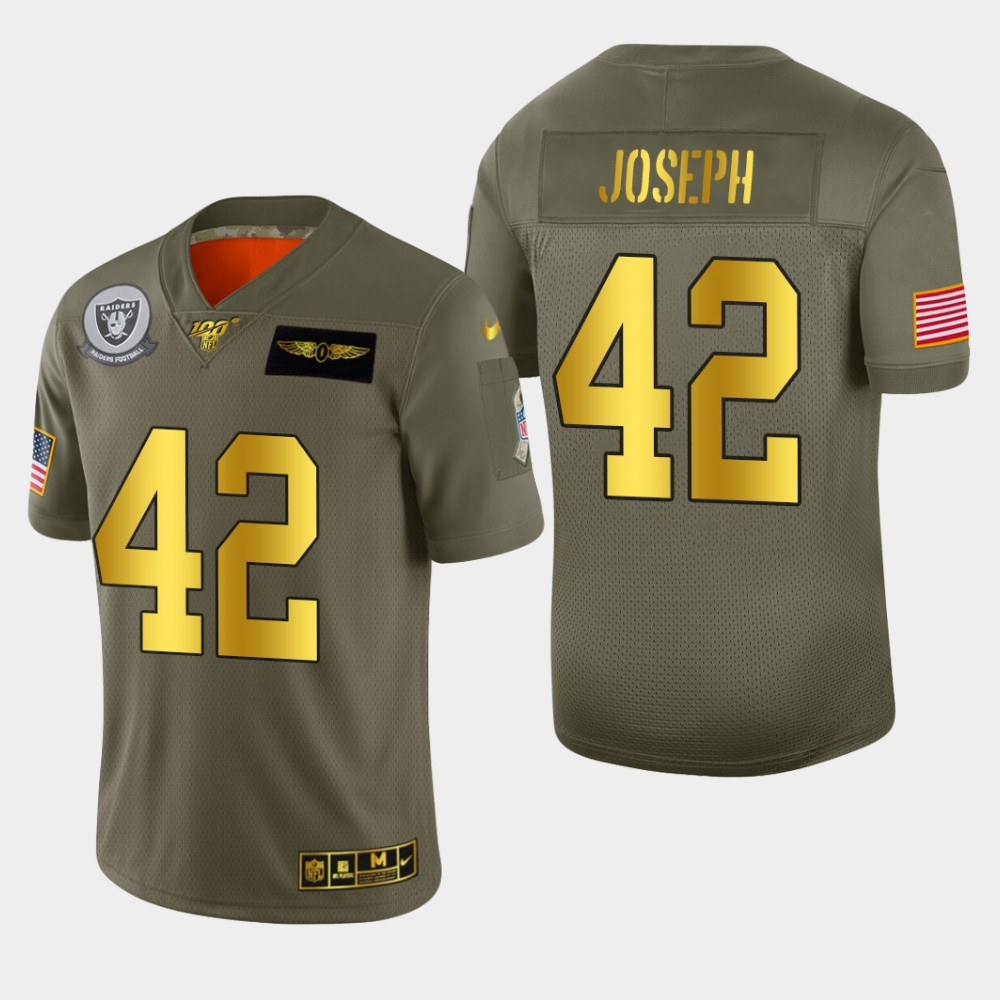 Oakland Raiders #42 Karl Joseph Men's Nike Olive Gold 2019 Salute to Service Limited NFL 100 Jersey