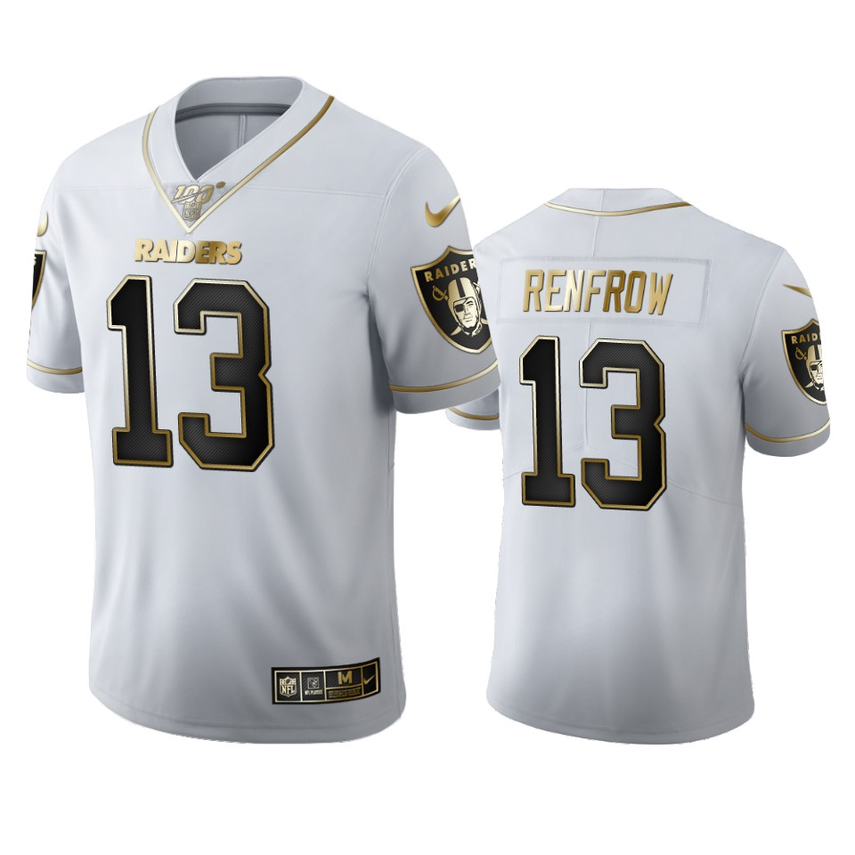 Oakland Raiders #13 Hunter Renfrow Men's Nike White Golden Edition Vapor Limited NFL 100 Jersey