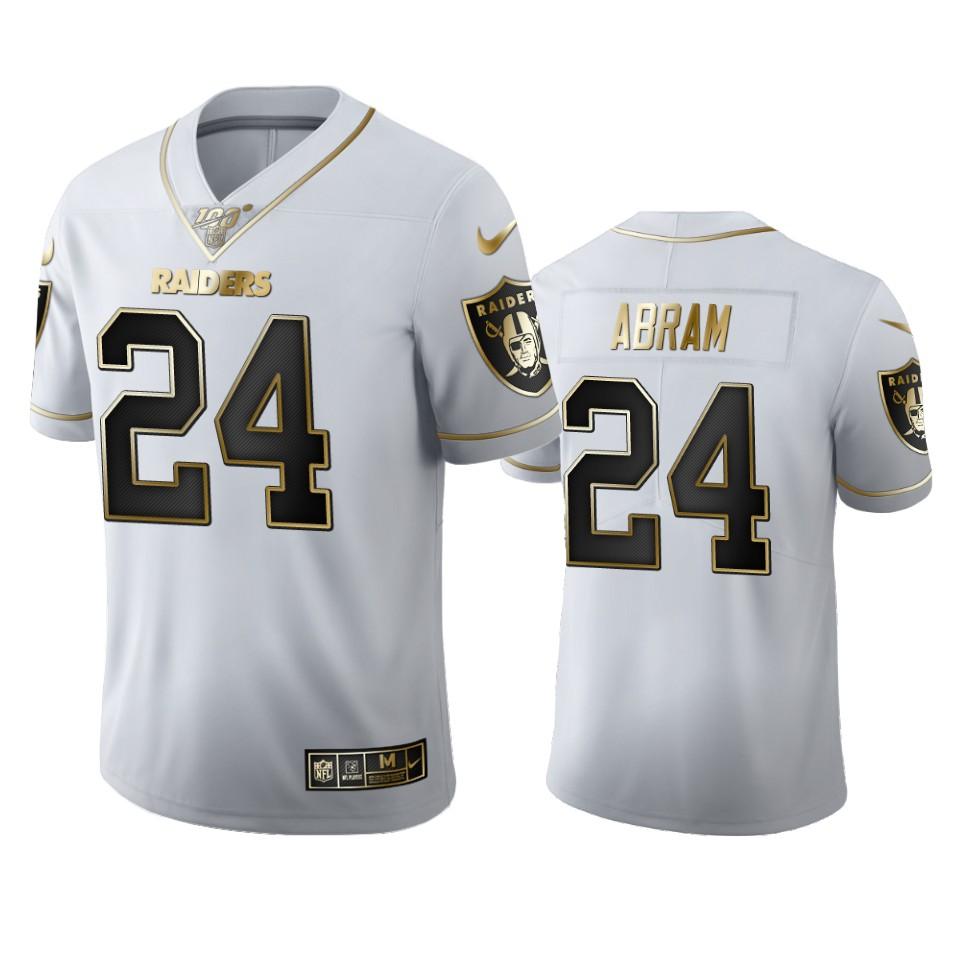 Oakland Raiders #24 Johnathan Abram Men's Nike White Golden Edition Vapor Limited NFL 100 Jersey