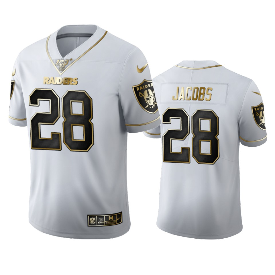 Oakland Raiders #28 Josh Jacobs Men's Nike White Golden Edition Vapor Limited NFL 100 Jersey