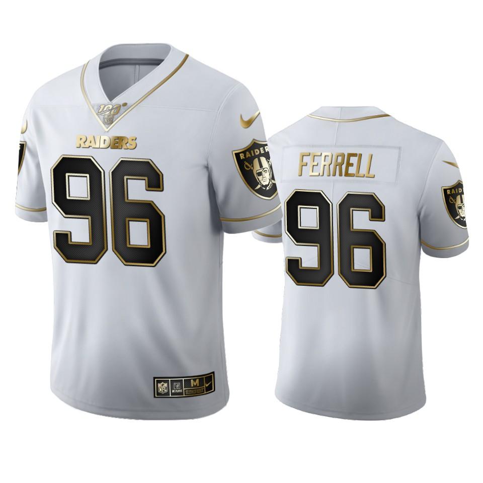 Oakland Raiders #96 Clelin Ferrell Men's Nike White Golden Edition Vapor Limited NFL 100 Jersey