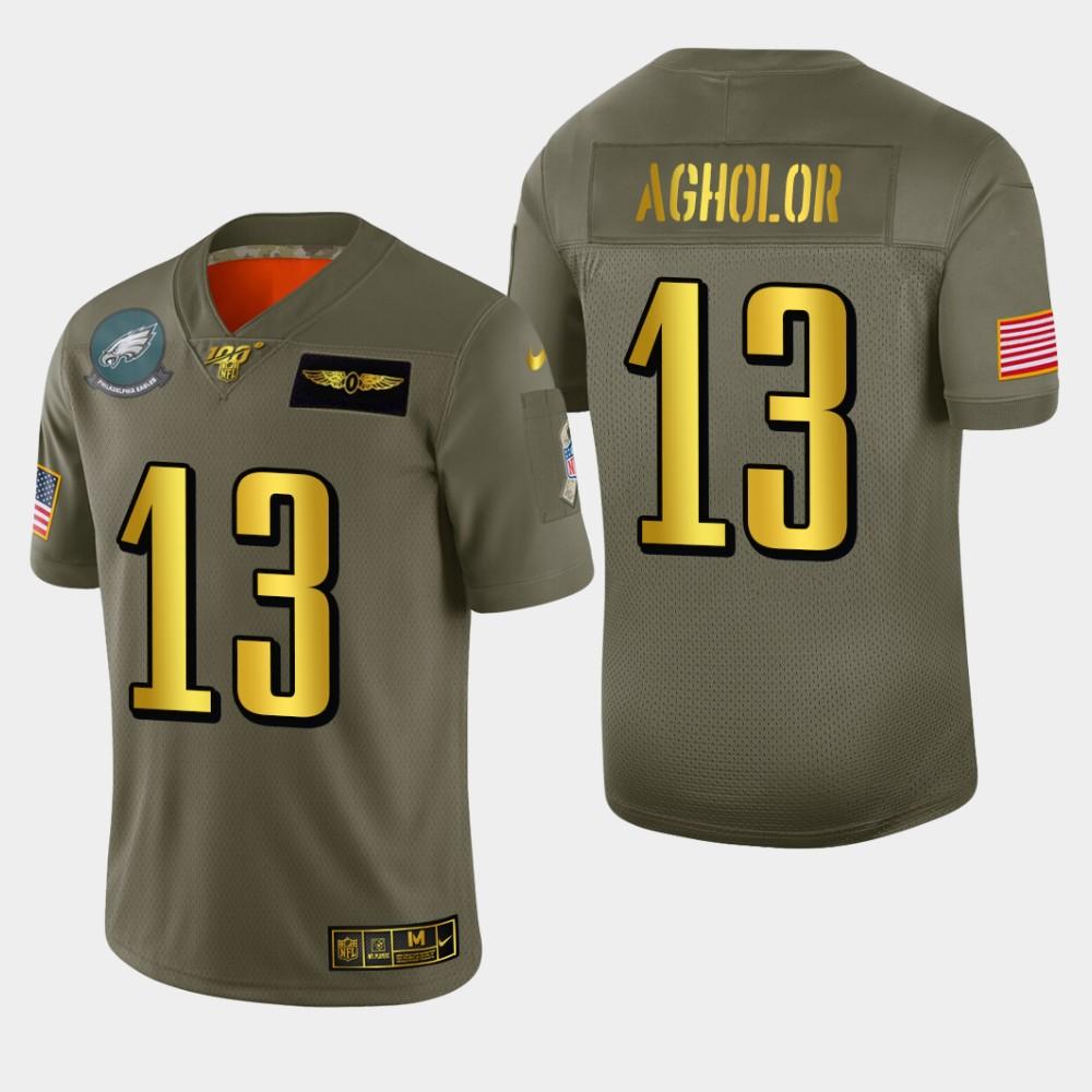Philadelphia Eagles #13 Nelson Agholor Men's Nike Olive Gold 2019 Salute to Service Limited NFL 100 Jersey
