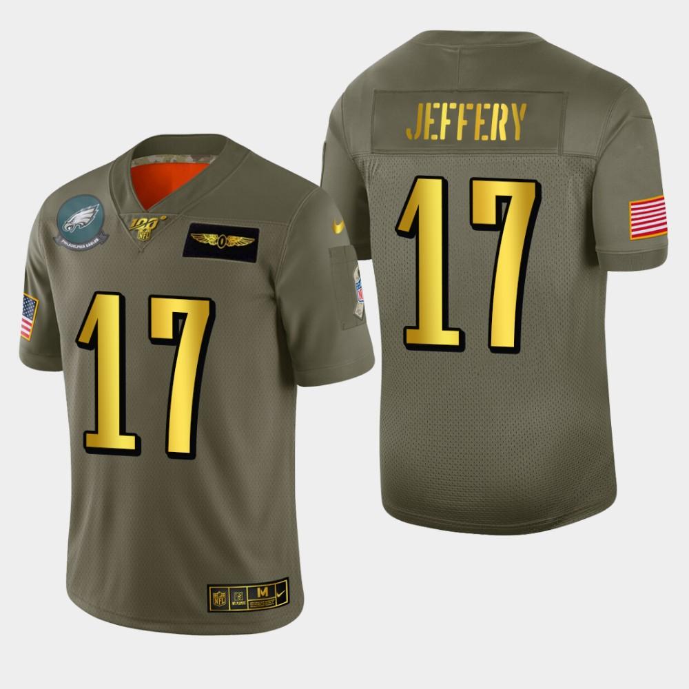 Philadelphia Eagles #17 Alshon Jeffery Men's Nike Olive Gold 2019 Salute to Service Limited NFL 100 Jersey