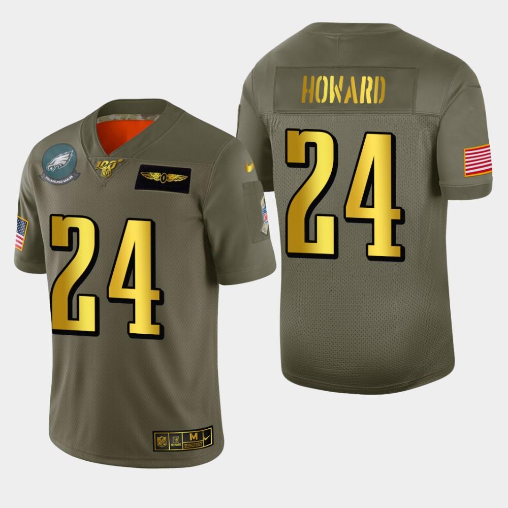 Philadelphia Eagles #24 Jordan Howard Men's Nike Olive Gold 2019 Salute to Service Limited NFL 100 Jersey