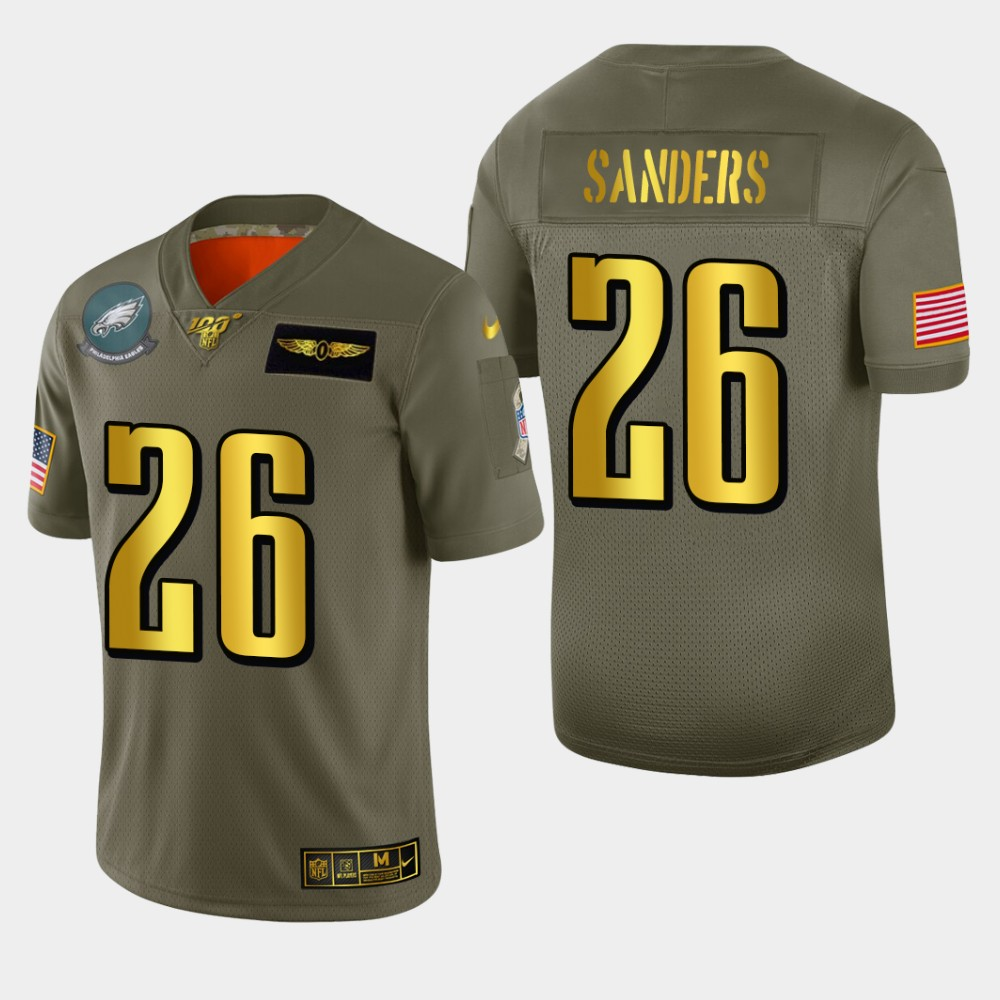 Philadelphia Eagles #26 Miles Sanders Men's Nike Olive Gold 2019 Salute to Service Limited NFL 100 Jersey