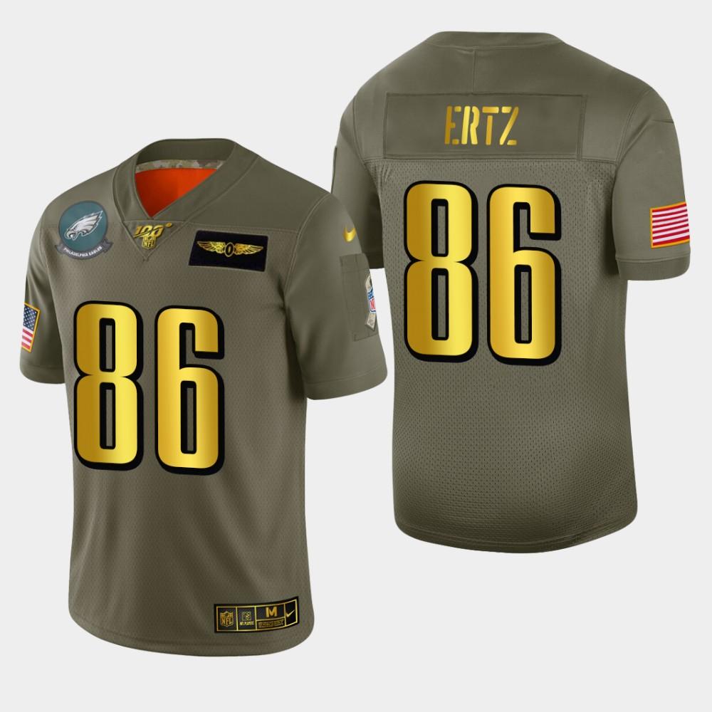 Philadelphia Eagles #86 Zach Ertz Men's Nike Olive Gold 2019 Salute to Service Limited NFL 100 Jersey