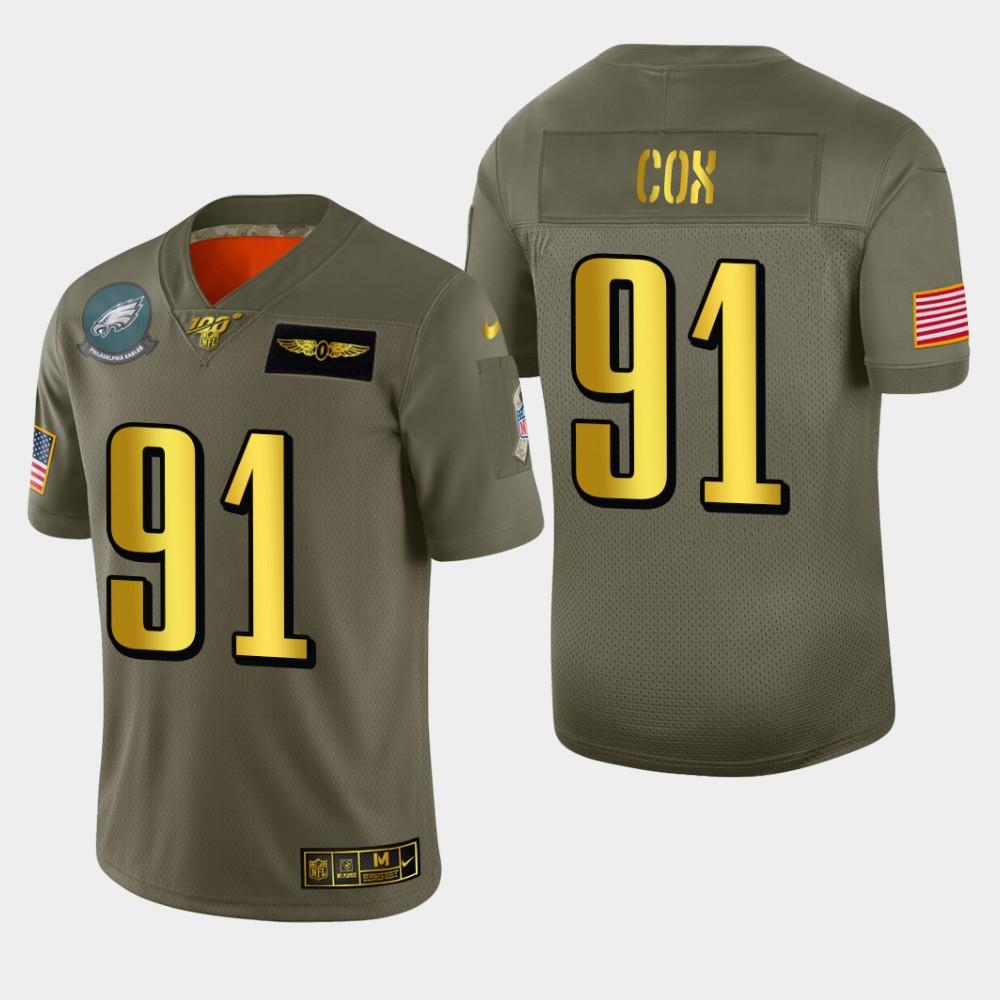 Philadelphia Eagles #91 Fletcher Cox Men's Nike Olive Gold 2019 Salute to Service Limited NFL 100 Jersey