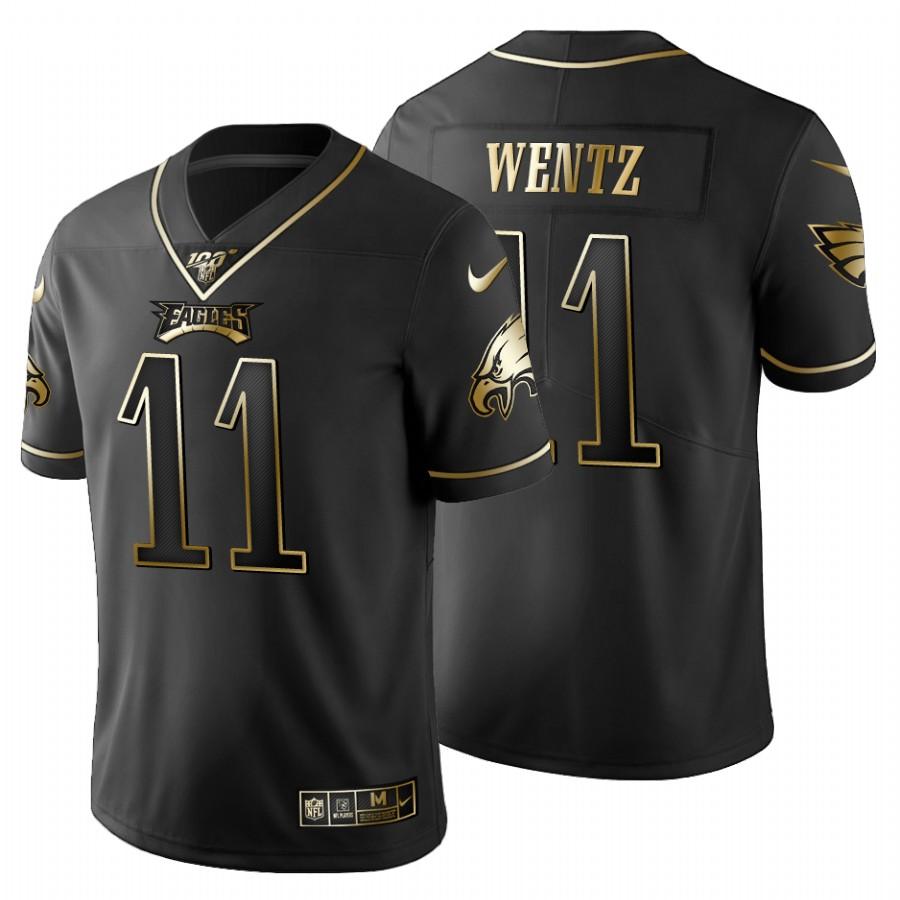 Philadelphia Eagles #11 Carson Wentz Men's Nike Black Golden Limited NFL 100 Jersey