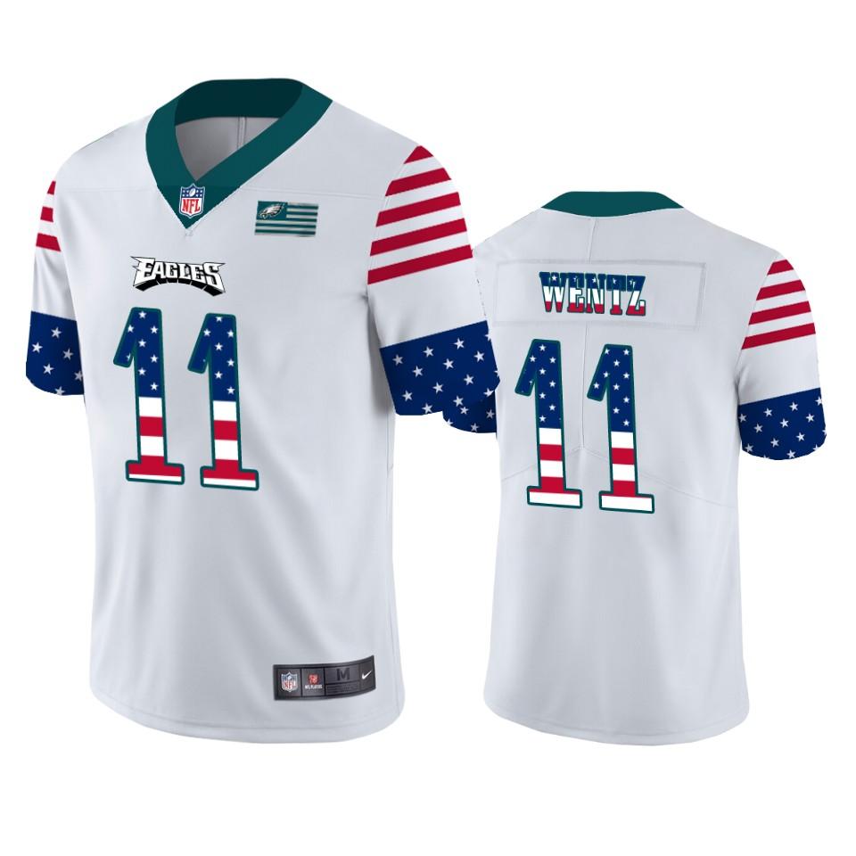 Philadelphia Eagles #11 Carson Wentz White Men's Nike Team Logo USA Flag Vapor Untouchable Limited NFL Jersey