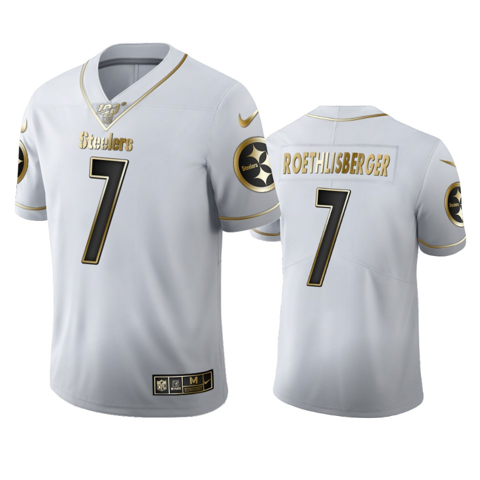 Pittsburgh Steelers #7 Ben Roethlisberger Men's Nike White Golden Edition Vapor Limited NFL 100 Jersey
