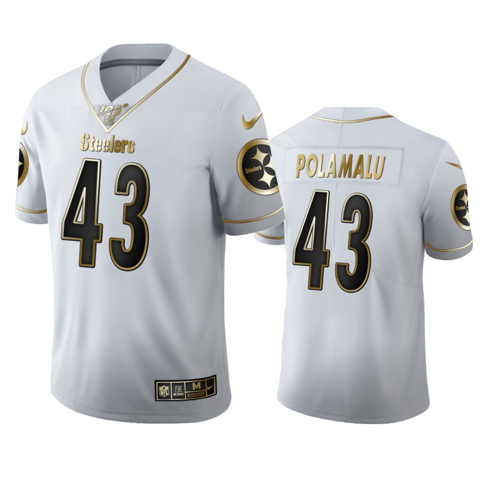 Pittsburgh Steelers #43 Troy Polamalu Men's Nike White Golden Edition Vapor Limited NFL 100 Jersey