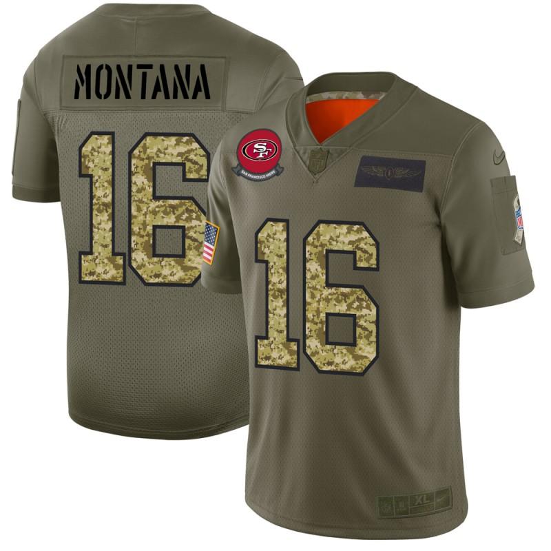 San Francisco 49ers #16 Joe Montana Men's Nike 2019 Olive Camo Salute To Service Limited NFL Jersey
