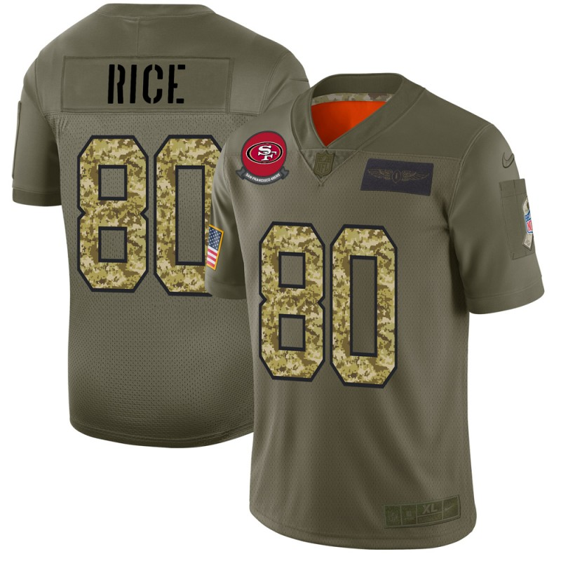 San Francisco 49ers #80 Jerry Rice Men's Nike 2019 Olive Camo Salute To Service Limited NFL Jersey