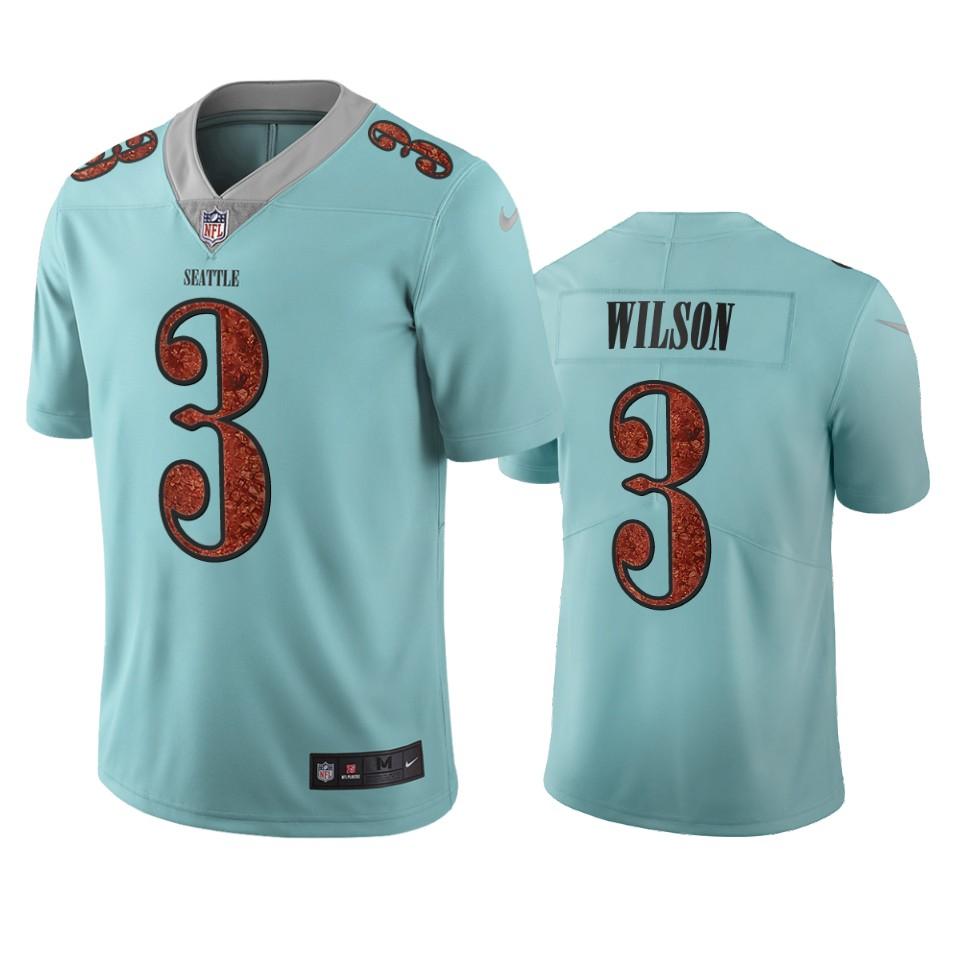 Seattle Seahawks #3 Russell Wilson Light Blue Vapor Limited City Edition NFL Jersey
