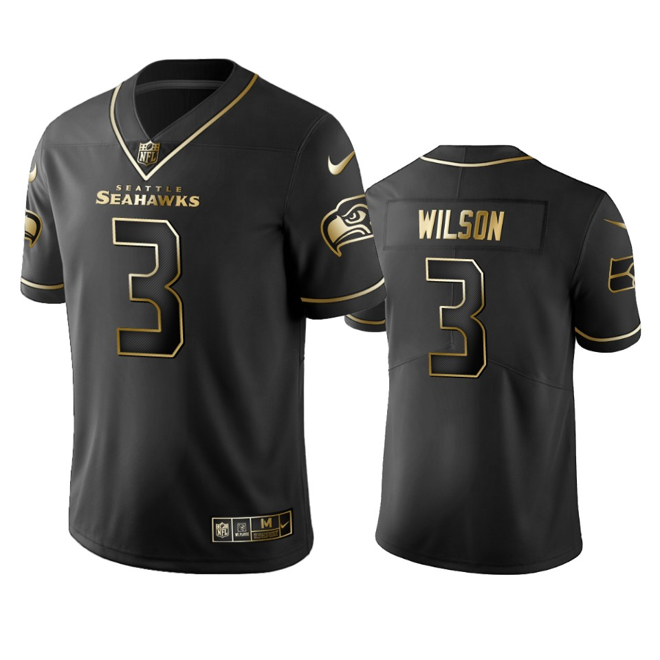 Seahawks #3 Russell Wilson Men's Stitched NFL Vapor Untouchable Limited Black Golden Jersey