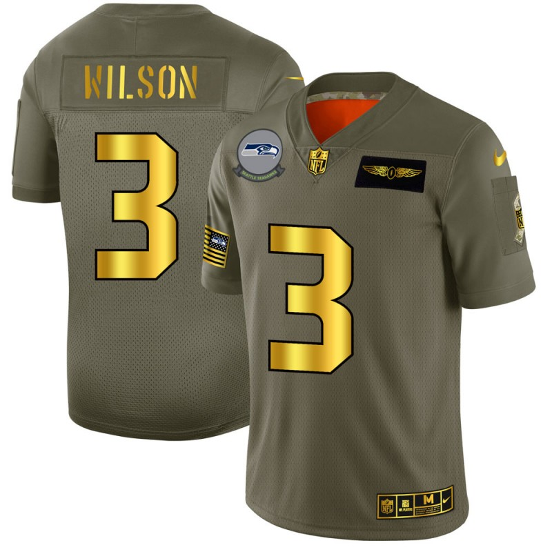 Seattle Seahawks #3 Russell Wilson NFL Men's Nike Olive Gold 2019 Salute to Service Limited Jersey