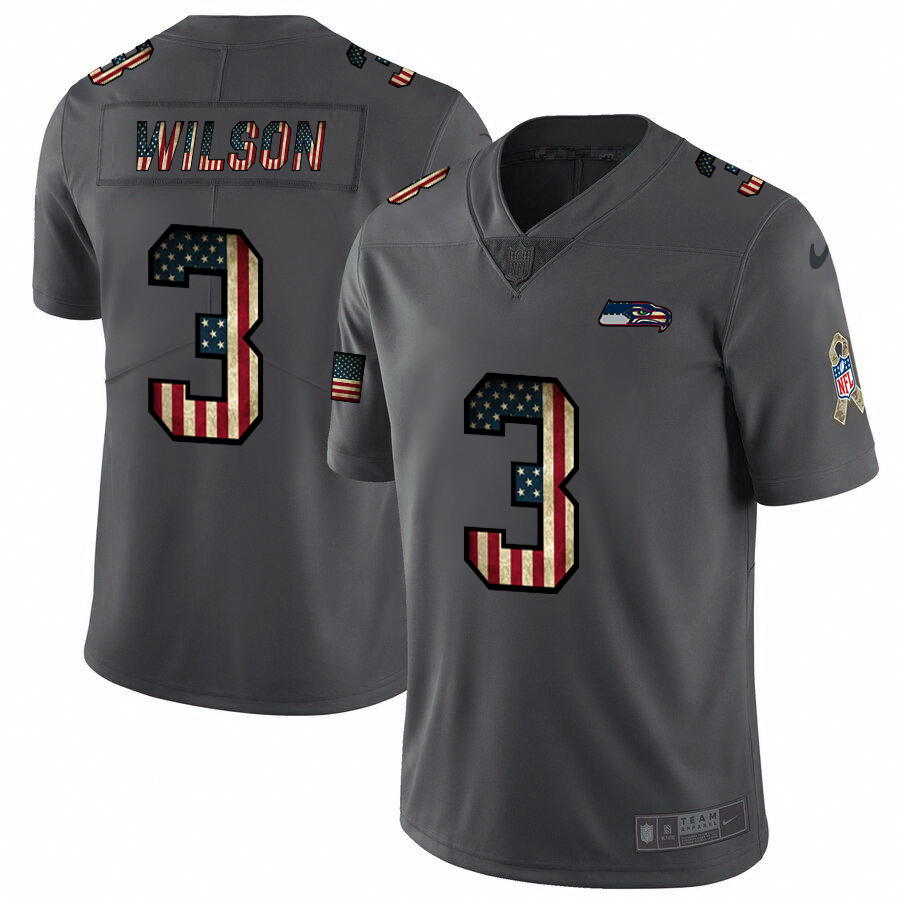 Seattle Seahawks #3 Russell Wilson Nike 2018 Salute to Service Retro USA Flag Limited NFL Jersey