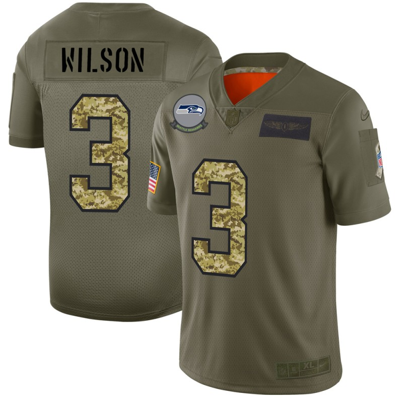 Seattle Seahawks #3 Russell Wilson Men's Nike 2019 Olive Camo Salute To Service Limited NFL Jersey