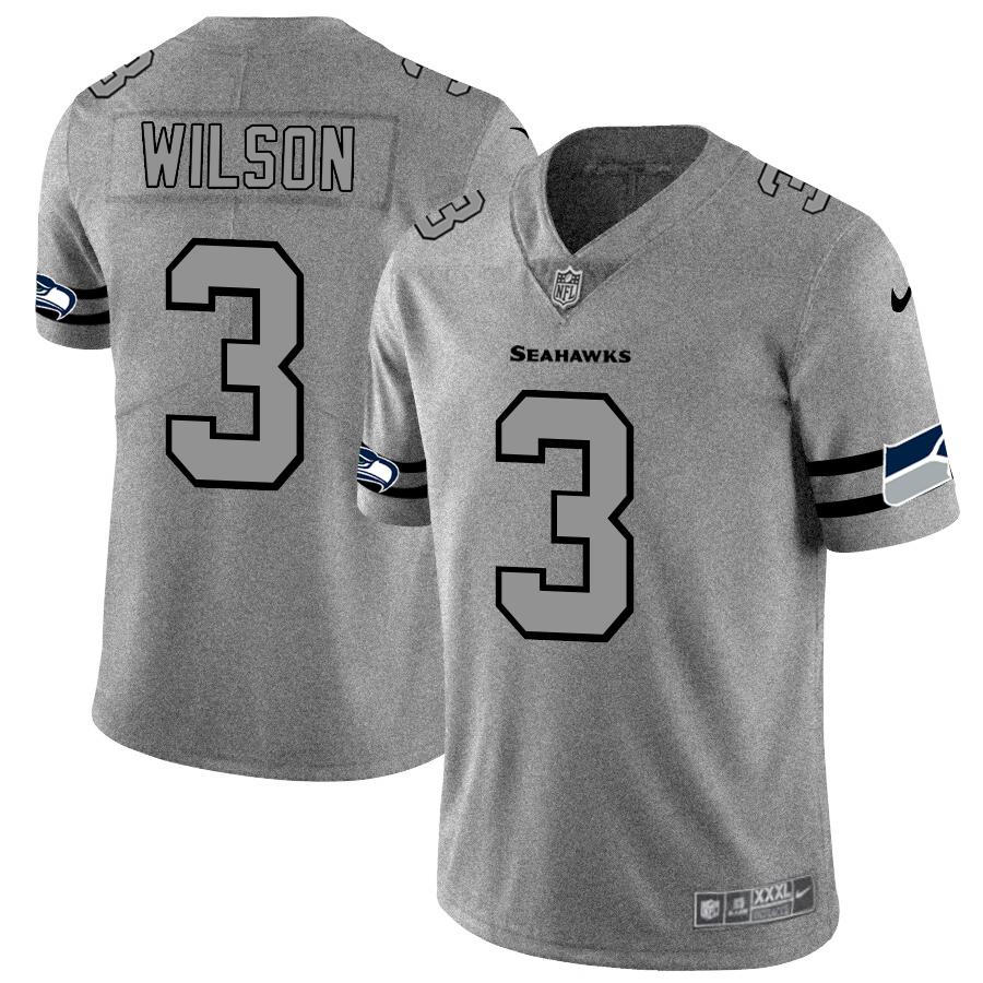 Seattle Seahawks #3 Russell Wilson Men's Nike Gray Gridiron II Vapor Untouchable Limited NFL Jersey