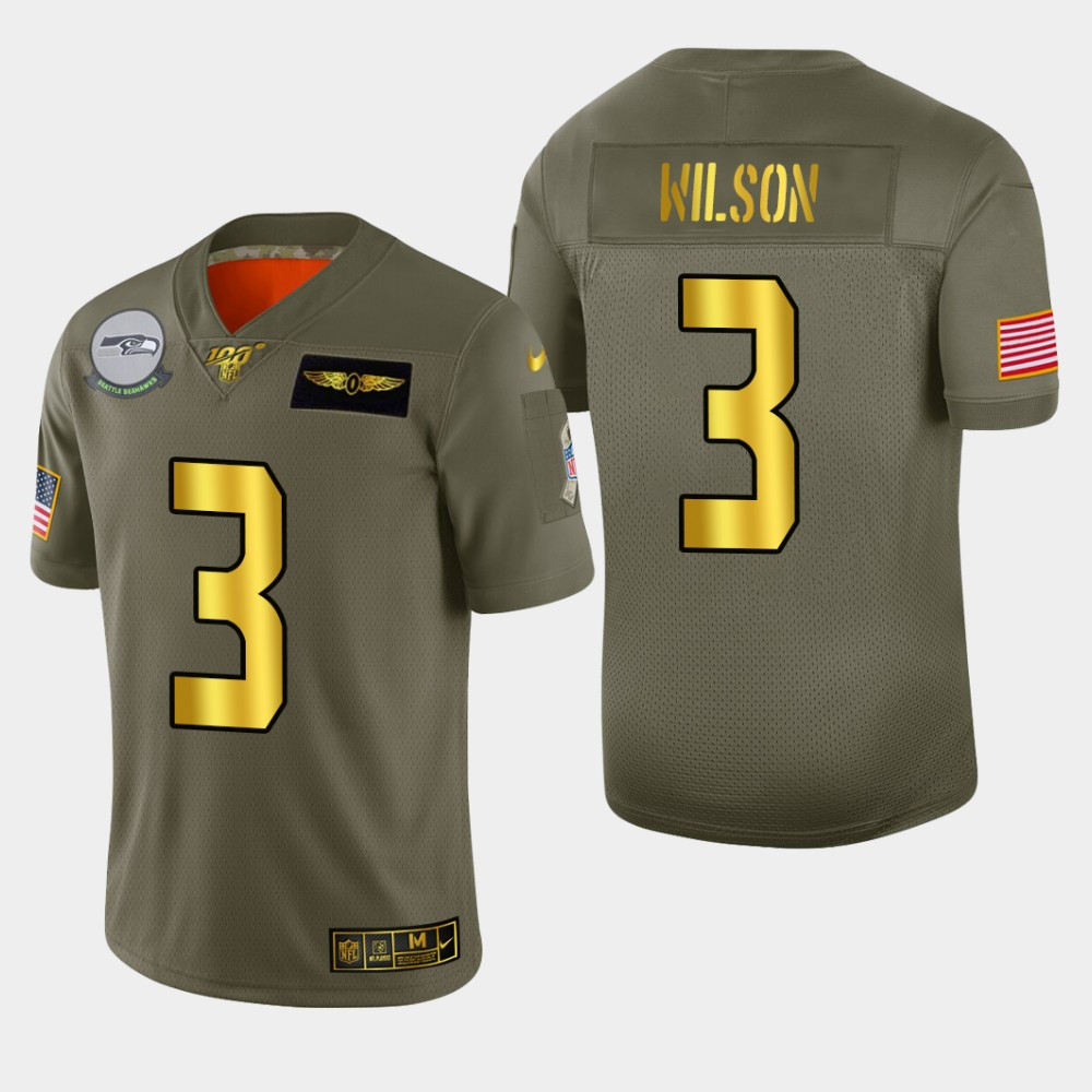 Seattle Seahawks #3 Russell Wilson Men's Nike Olive Gold 2019 Salute to Service Limited NFL 100 Jersey