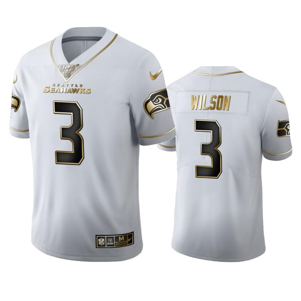 Seattle Seahawks #3 Russell Wilson Men's Nike White Golden Edition Vapor Limited NFL 100 Jersey