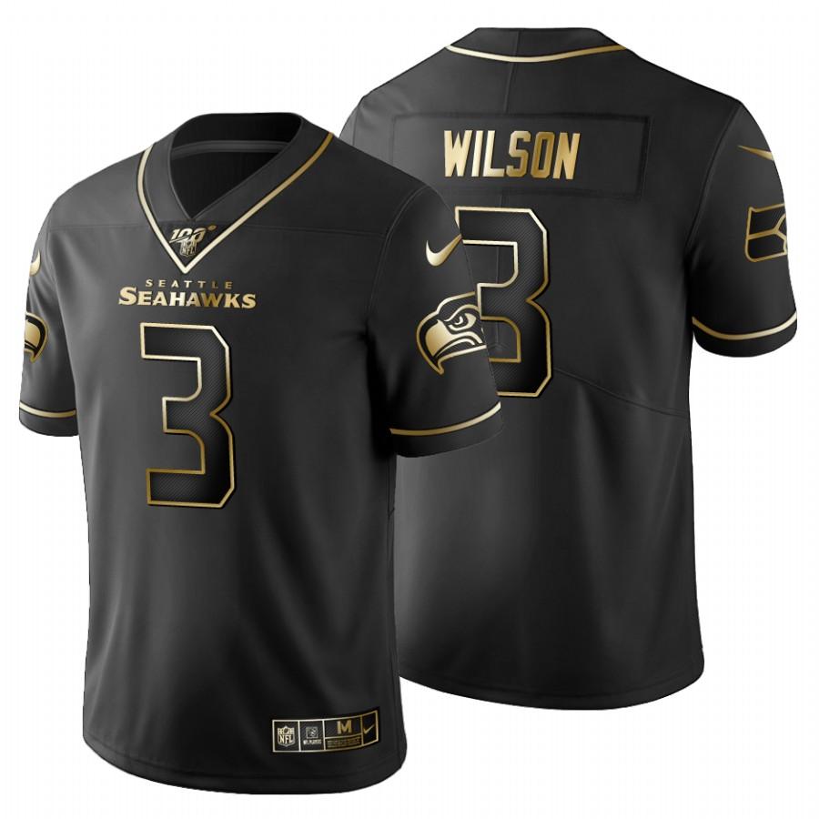 Seattle Seahawks #3 Russell Wilson Men's Nike Black Golden Limited NFL 100 Jersey