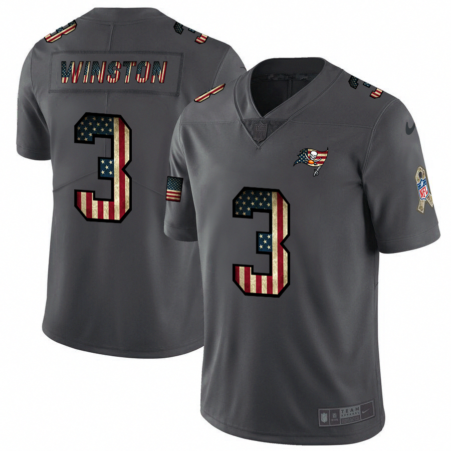 Tampa Bay Buccaneers #3 Jameis Winston Nike 2018 Salute to Service Retro USA Flag Limited NFL Jersey