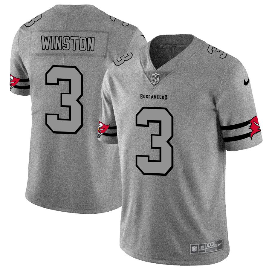 Tampa Bay Buccaneers #3 Jameis Winston Men's Nike Gray Gridiron II Vapor Untouchable Limited NFL Jersey