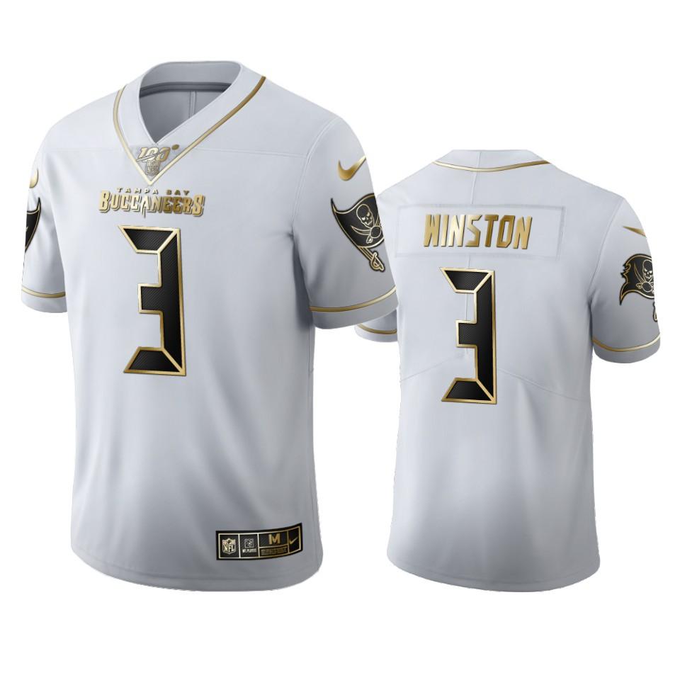 Tampa Bay Buccaneers #3 Jameis Winston Men's Nike White Golden Edition Vapor Limited NFL 100 Jersey