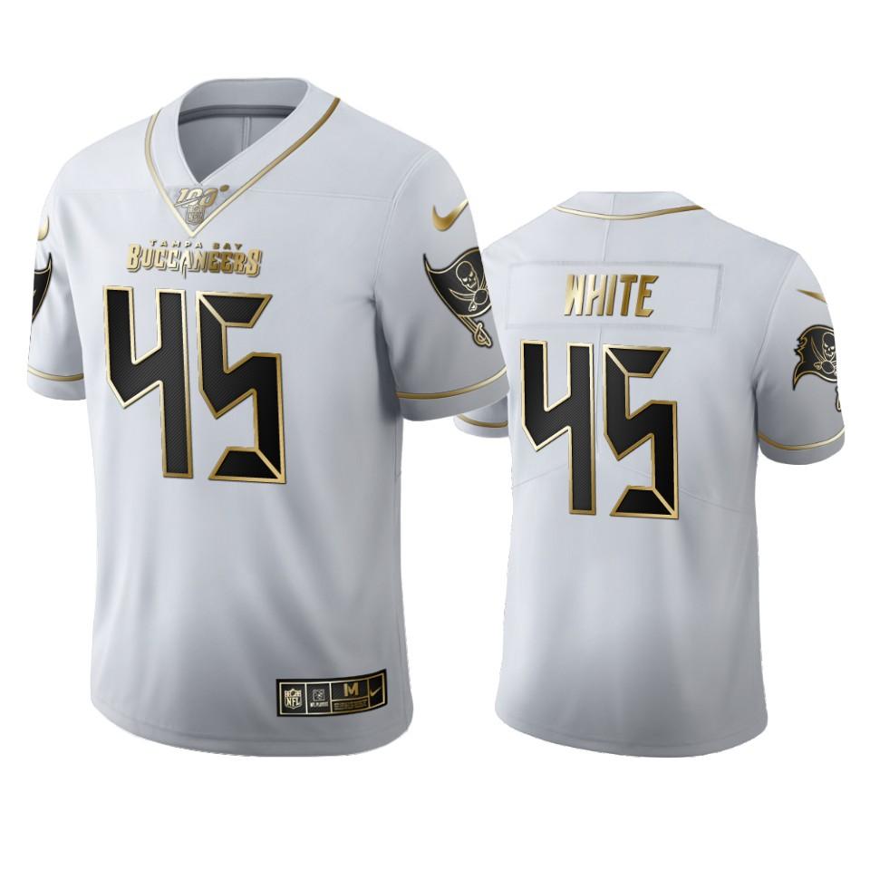 Tampa Bay Buccaneers #45 Devin White Men's Nike White Golden Edition Vapor Limited NFL 100 Jersey